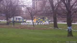 Police forensic teams in Glasgow Green