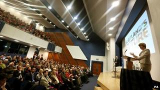 Nicola Sturgeon giving speech at St Andrews University