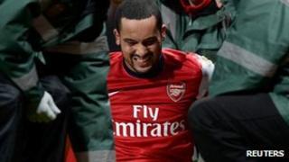 An injured Theo Walcott on Saturday