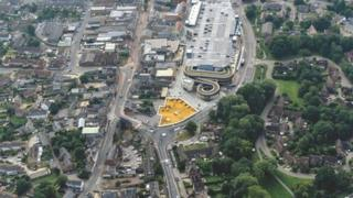 Bicester and the area where the building will go marked with yellow