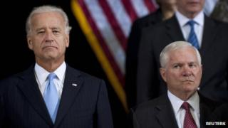 US Defence Secretary Robert Gates (right) and US Vice President Joe Biden in Baghdad on 1 September 2010