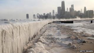 A frozen Lake Michigan