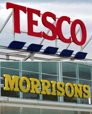 Tesco and Morrison signs