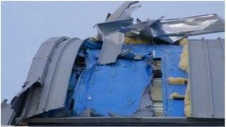 Damaged hangar at Duxford