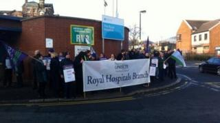 Unison are staging a protest at the Royal Victoria Hospital over the A&E issue
