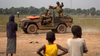 French soldiers at makeshift camp for displaced people, at Mpoko Airport, in Bangui, Central African Republic, 9 Jan 2014