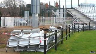 Temporary stands being demolished at Northamptonshire County Cricket Club