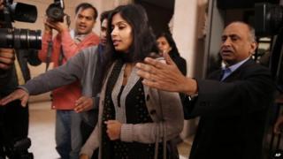 Indian diplomat Devyani Khobragade meets reporters in Delhi, 11 January 2014
