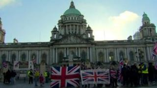 Loyalist protest at Belfast City Hall