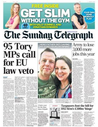 Sunday Telegraph front page 12/1/14