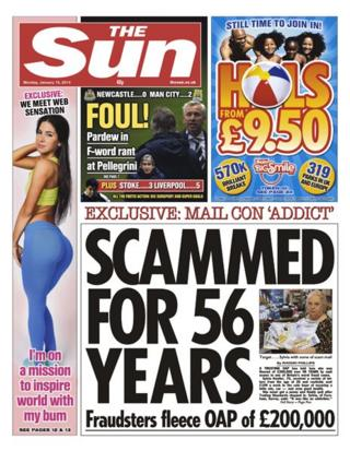 Sun front page 13/1/14