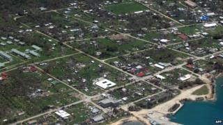 This handout photograph provided by the Royal New Zealand Air Force (RNZAF) shows the destruction caused by a major cyclone on Foa Island in Tonga on 12 January 2014