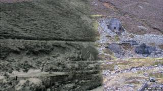 Carrock mine in the early 20th Century and in 2013