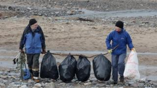 Beach clean after storm