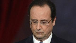 French President Francois Hollande pauses during a press conference on January 14, 2014.