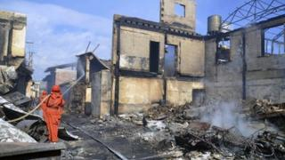 The fire on Saturday severely damaged the ancient Tibetan town of Dukezong