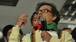Bogota's Mayor Gustavo Petro speaks to supporters during a protest in Bogota on 13 December, 2013