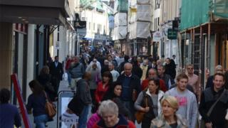 Shoppers in Jersey