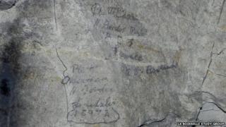 Graffiti left by men of the 11th Battalion Border Regiment