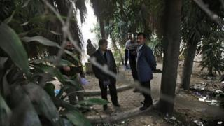 Indian investigators visit a spot which police say is where a Danish tourist was gang-raped in Delhi, India.