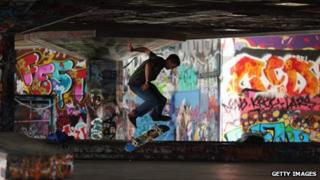 A skater in the Southbank skate park