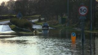 The flood on the A6 in Leicestershire