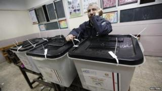 Election worker in Cairo, 14 January