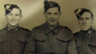 Roland Baker with two comrades from the Suffolk Regiment