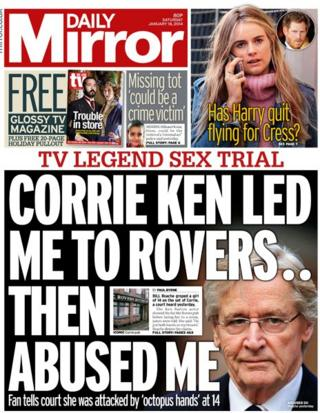 Daily Mirror front page 18/1/14