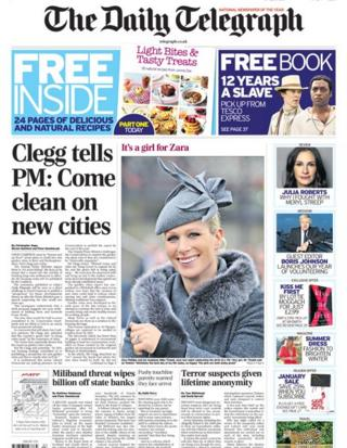 Daily Telegraph front page 18/1/14