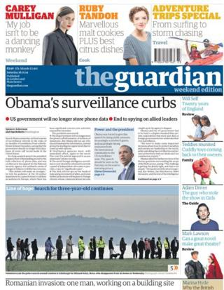 Guardian front page 18/1/14