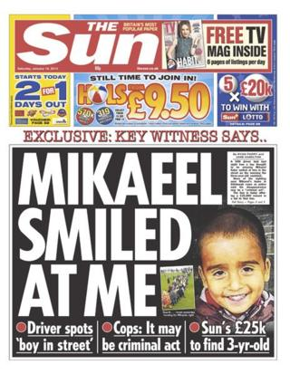 Sun front page 18/1/14