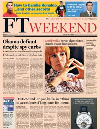 Financial Times front page 18/1/14