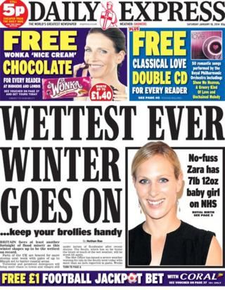 Daily Express front page 18/1/14