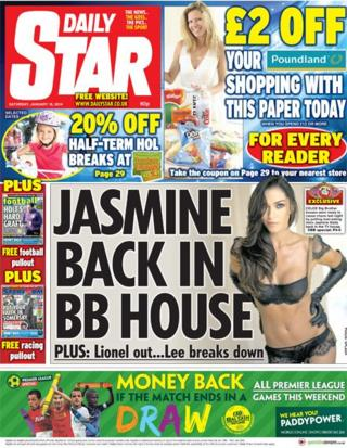 Daily Star front page 18/1/14