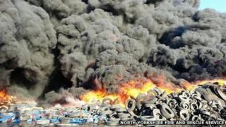 Tyre fire at Sherburn-in-Elmet