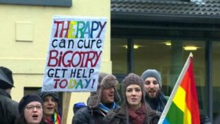 Gay campaigners protest