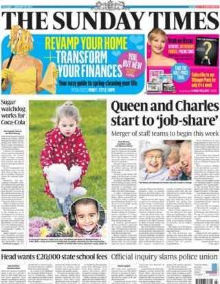 Sunday Times front page 19/1/14