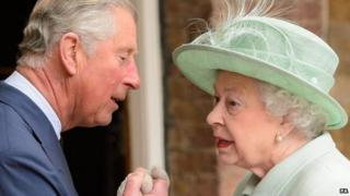 File photo dated 14/05/13 of Queen Elizabeth II being greeted by the Prince of Wales as she arrives at the Chapel Royal, at St James's Palace, central London, to attend a service for members of the Order of Merit