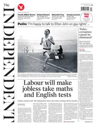 Independent front page 20/1/14