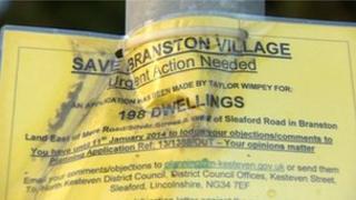 Sign for Save Branston Village