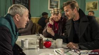 Nicholas Lyndhurst, Sir David Jason and David Beckham in a special Sport Relief episode of Only Fools and Horses