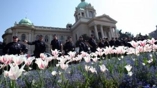 "Serbian riot police guard Serbia""s parliament building in Belgrade, Serbia, Friday, April 26, 2013"