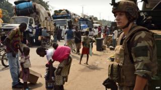 French soldier/refugees in CAR - file pic