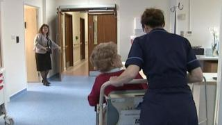 An elderly patient is taken to the assessment unit