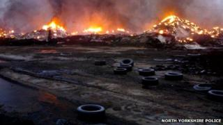 Tyre fire at Sherburn-in-Elmet