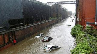 Cars floating down Brightside Lane in Sheffield, 2007