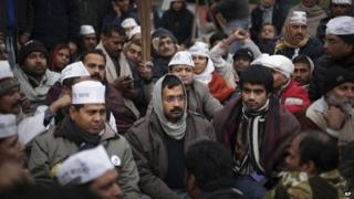 New Delhi Chief Minister Arvind Kejriwal, center, takes part in a protest rally against the police for the second consecutive day, in New Delhi, India, Tuesday, Jan. 21, 2014.