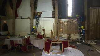 Firefighters in the Alverton Great Hall