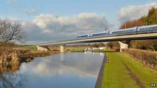 The Birmingham and Fazeley viaduct, part of the proposed route for the HS2 high-speed rail scheme